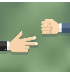 Hands playing paper rock scissors vector