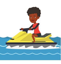 African-american woman training on jet ski in sea vector