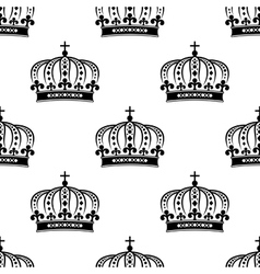 Black royal crown seamless pattern vector