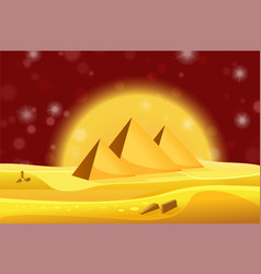 Cartoon egyptian pyramids in the desert with red vector