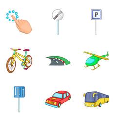 city destination icon set cartoon style vector image
