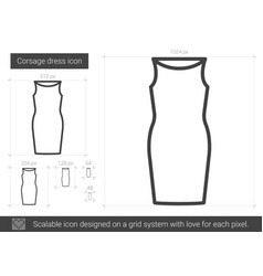 corsage dress line icon vector image vector image