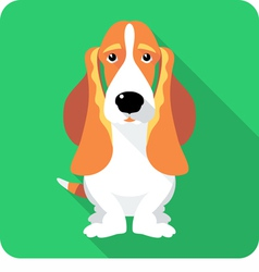 Dog basset hound sitting icon flat design vector