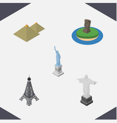 Isometric architecture set of new york egypt vector