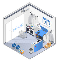laundry interior isometric composition vector image
