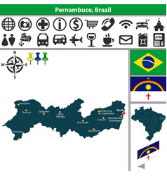 Map of pernambuco brazil vector
