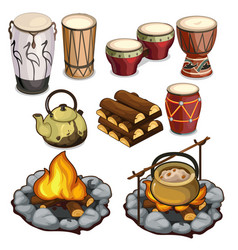 musical instruments drums and elements of camping vector image vector image