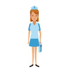 Nurse female staff with uniform hat medical vector