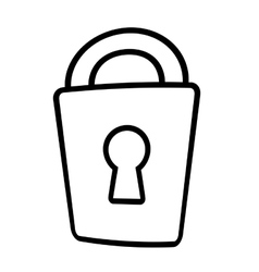 padlock lock security money bank line vector image