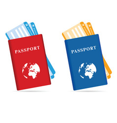 passeport and ticket in two color vector image
