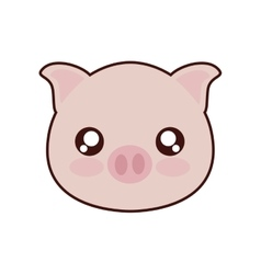 Pig kawaii cute animal icon vector