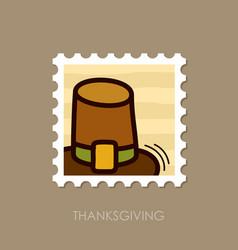 pilgrim hat stamp harvest thanksgiving vector image