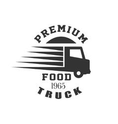 Premium food truck label design vector