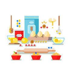 Preparation of baking ingredients vector