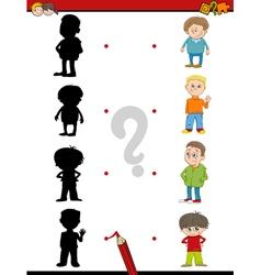 Preschool shadow activity for kids vector
