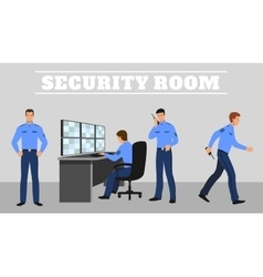 Security room and working guards concept vector