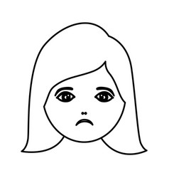 silhouette cartoon human female sad face vector image