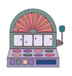 Silhouette color slot machine with button panel vector