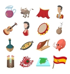 Spain icons cartoon vector