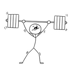 stickman cartoon of weightlifter with barbell vector image vector image