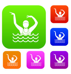 Swimmer in a swimming pool set collection vector