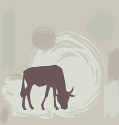 Wildebeest silhouette on grunge background vector image vector image