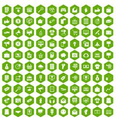 100 internet marketing icons hexagon green vector image vector image