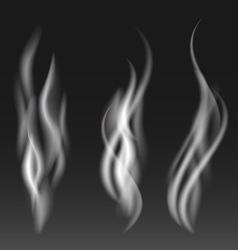 White smoke set on black background vector