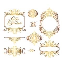 floral golden eastern decor frame elements vector image