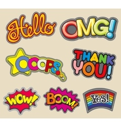 Internet words embroidery stitched badges vector