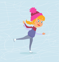 Isolated cartoon girl skating on frozen surface vector