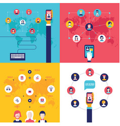 social network technology banner set vector image