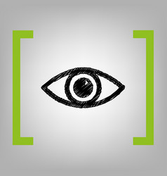 Eye sign   black scribble icon vector