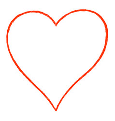 red heart line drawing contour vector image