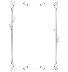 Vertical frame with swirls vector