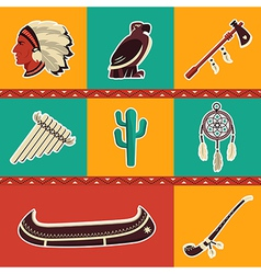 American indian icons set vector