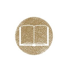 Open book icon with hand drawn lines texture vector
