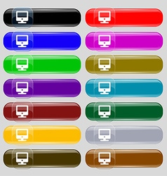Monitor icon sign big set of 16 colorful modern vector