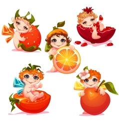Sweet fairies with apple orange tomato and vector