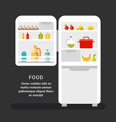 Open refrigerator with food flat style food vector
