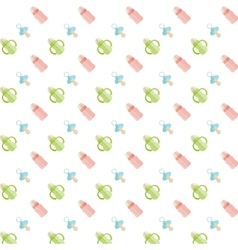 Seamless baby pattern feeding bottle and nipple vector