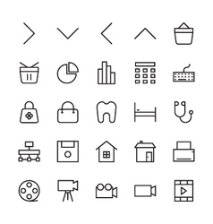 Web and user interface outline icons 3 vector