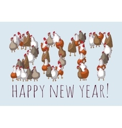 Big group sign chicken new year greeting card vector
