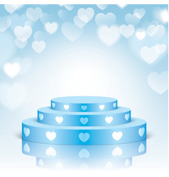 Blue pedestal with white hearts vector
