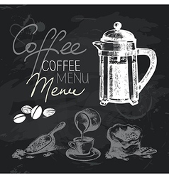 Coffee hand drawn chalkboard design set vector