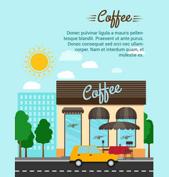 Coffee shop with city landscape banner vector