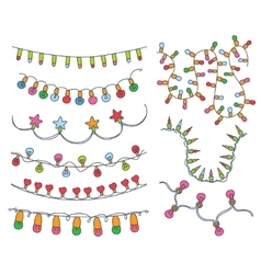 Colorful Garlands and Bulbs vector image vector image