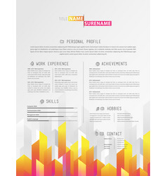 creative simple cv template with colorful stripes vector image vector image