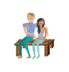 Drawing couple sitting together romance vector