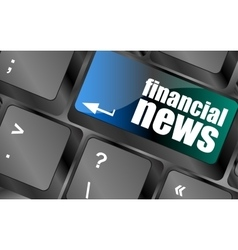 Financial news button on computer keyboard vector